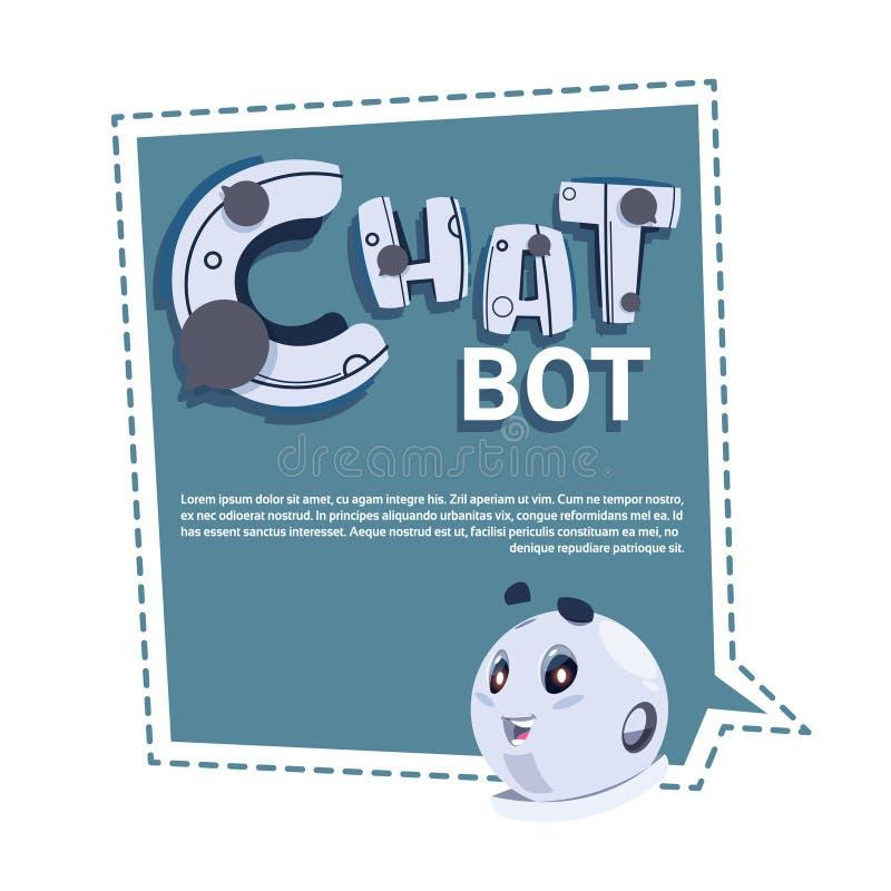 Insegna sveglia del modello del robot del Bot di chiacchierata con lo spazio della copia, lo schiamazzo o il concetto tecnico di  illustrazione vettoriale
