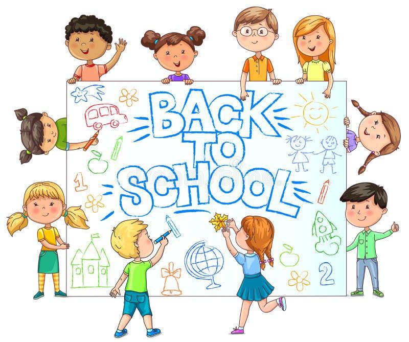 Insegna sveglia della tenuta dei bambini di nuovo alla scuola con il tiraggio dei bambini dipinti illustrazione di stock