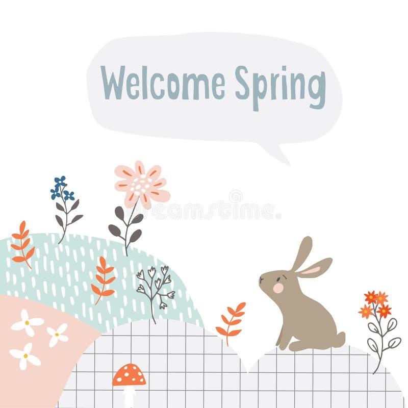 Insegna sveglia di web di Pasqua con coniglio bianco, i fiori ed il fondo strutturato Cartolina d'auguri della primavera, invito  illustrazione di stock