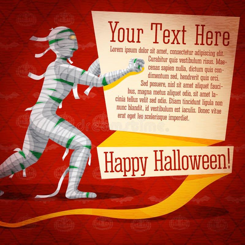 Insegna sveglia felice di Halloween retro sulla carta del mestiere illustrazione vettoriale