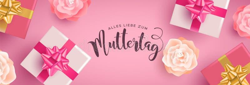Insegna tedesca di giorno di madri con i regali ed i fiori illustrazione vettoriale