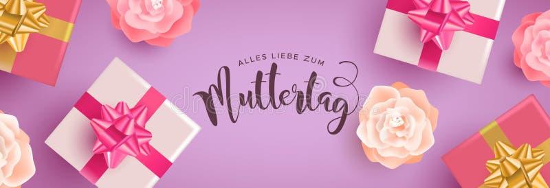 Insegna tedesca di giorno di madri con i regali ed i fiori royalty illustrazione gratis