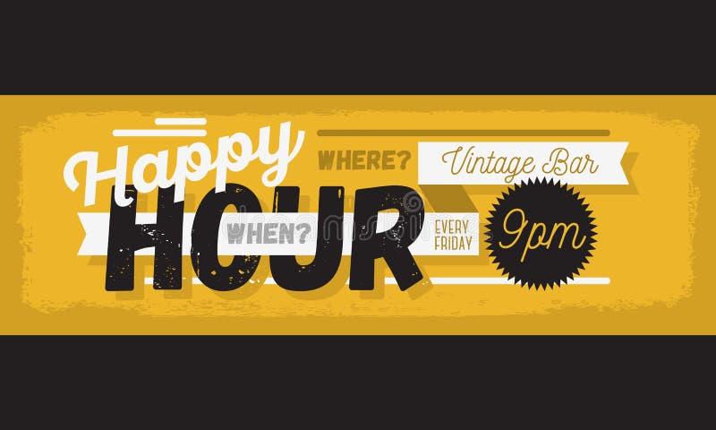 Insegna tipografica d'annata di web dell'intestazione del manifesto di nuova età di happy hour illustrazione vettoriale