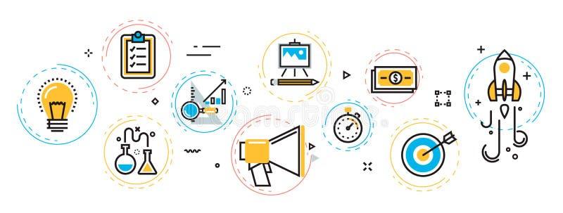 Insegna trattata startup e schema di progetto di affari in EL dei cerchi illustrazione di stock