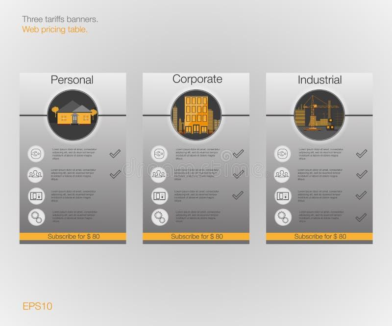 Insegna tre le tariffe ed i listini prezzi Elementi di Web Ospitalità di piano Progettazione di vettore per il web app Piano per  illustrazione di stock