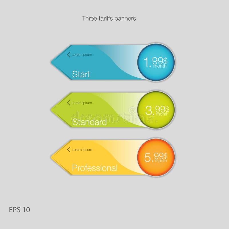 Insegna tripla per ospitare Tre insegne di tariffe Tavola di valutazione di web Progettazione di vettore per il web app Stile del royalty illustrazione gratis