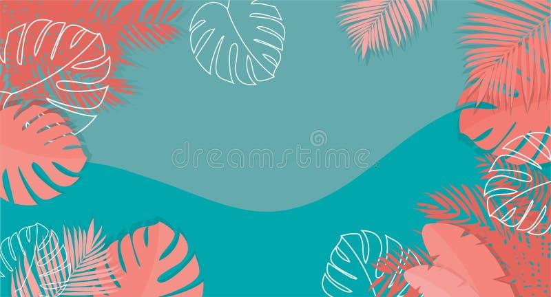 Insegna tropicale con i colori di corallo - vettore del fondo di estate royalty illustrazione gratis