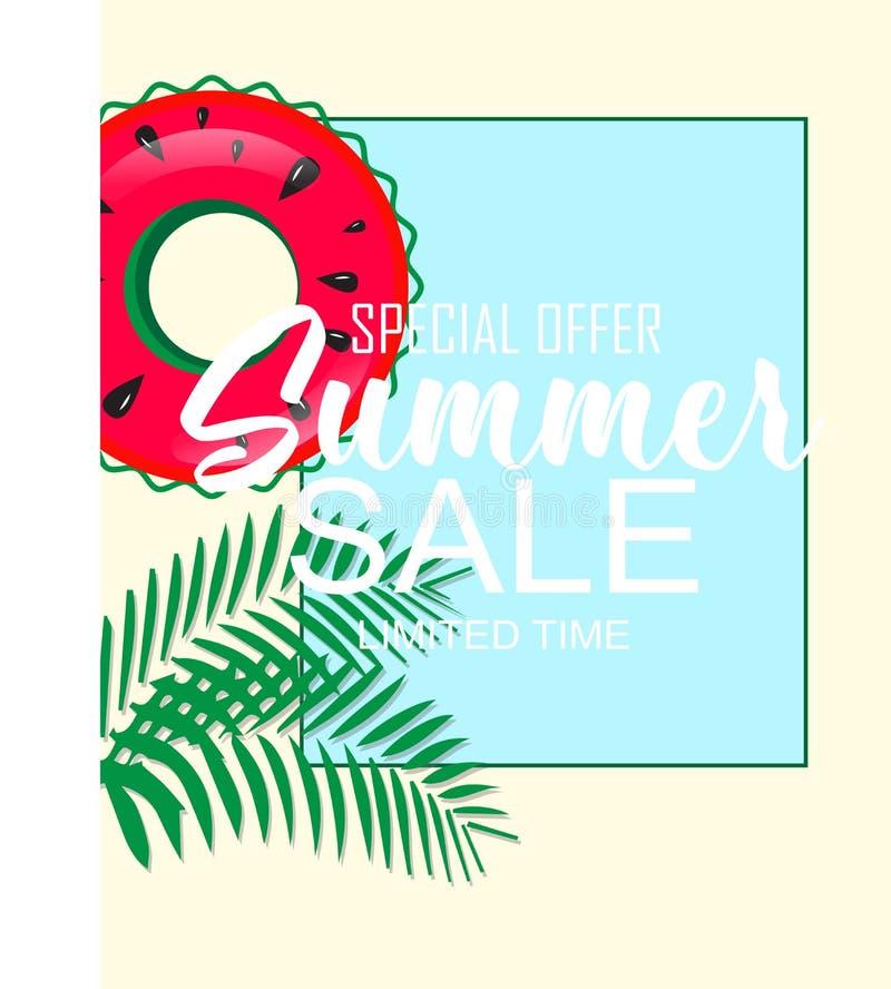 Insegna tropicale di estate con la palma della frutta e dell'anguria illustrazione vettoriale