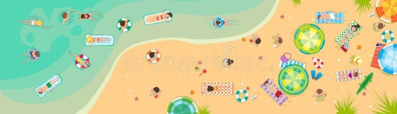 Insegna tropicale di festa della sabbia della spiaggia di vacanza della spiaggia di estate illustrazione vettoriale
