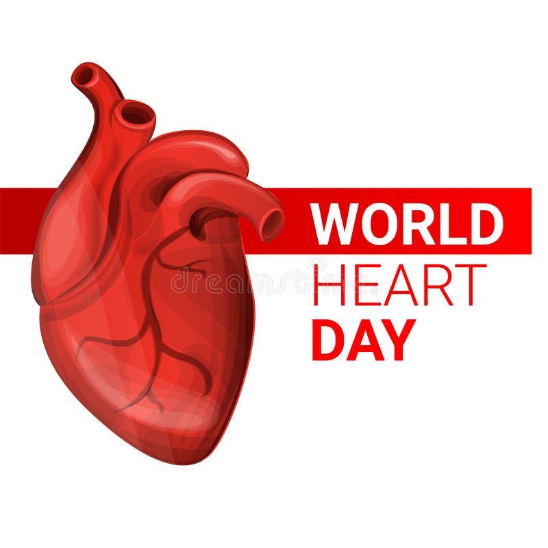 Insegna umana di concetto di giorno del cuore del mondo, stile del fumetto illustrazione di stock