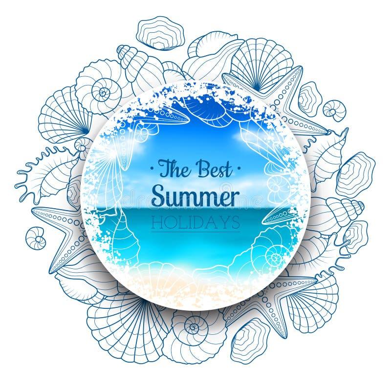 Insegna vaga di estate con le conchiglie e le stelle marine illustrazione di stock