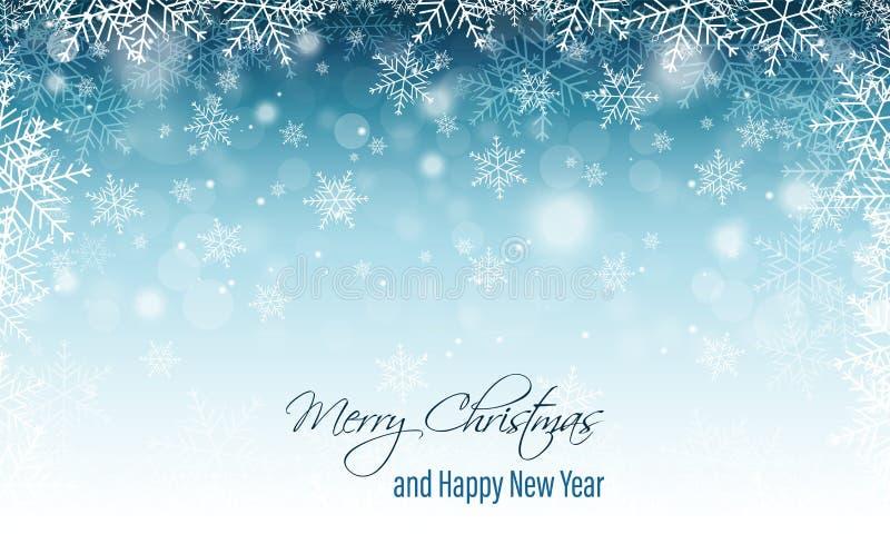 Insegna vaga inverno con i fiocchi di neve Cartolina d'auguri anno felice di nuovo e di Buon Natale illustrazione di stock