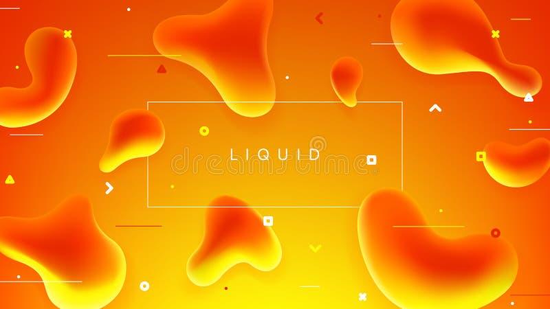 Insegna variopinta con le forme liquide astratte illustrazione vettoriale