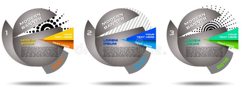 Insegna variopinta di web dell'estratto di vettore, insieme infographic Modello geometrico moderno royalty illustrazione gratis