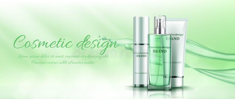 Insegna verde con i cosmetici illustrazione vettoriale