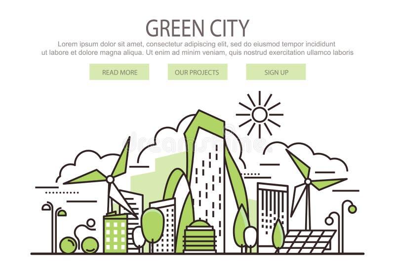 Insegna verde della città illustrazione vettoriale