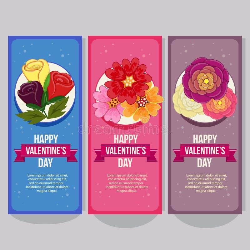 Insegna verticale del biglietto di S. Valentino sveglio con gli elementi del fiore del ranuncolo illustrazione vettoriale