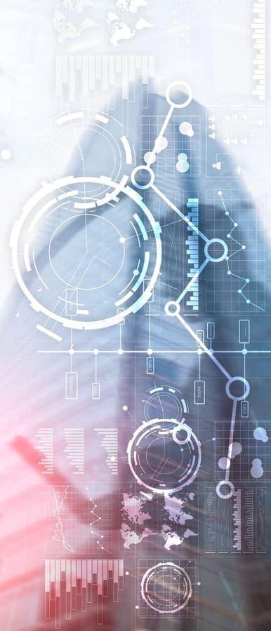 Insegna verticale di panorama L'interfaccia di affari ha mescolato il diagramma e l'icona finanziari del grafico del grafico dell immagini stock libere da diritti