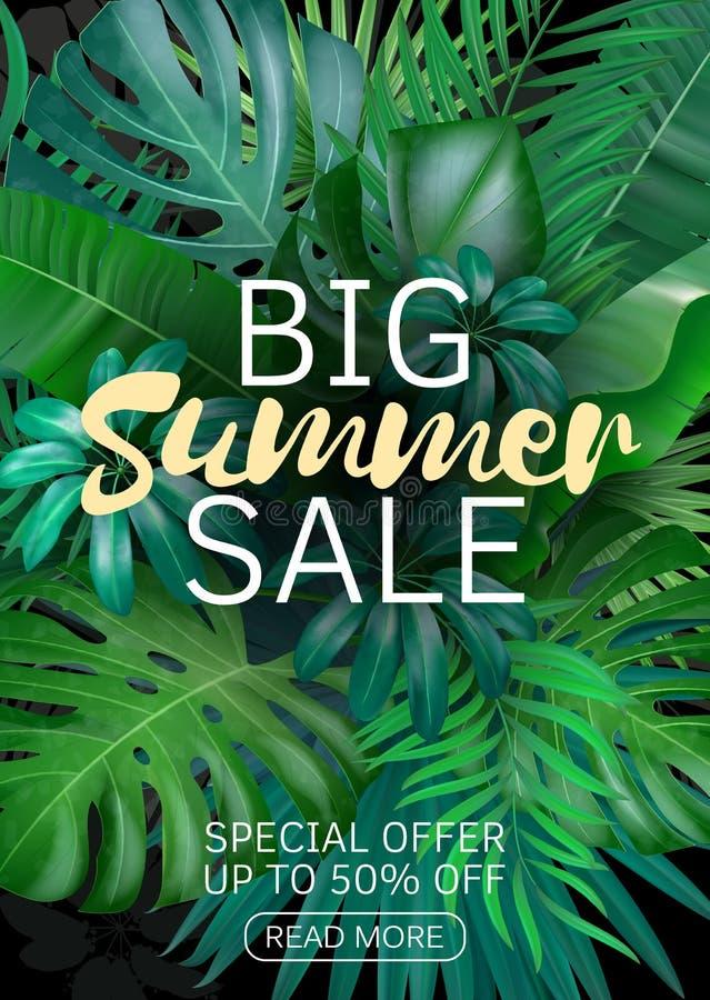 Insegna verticale di vendita, manifesto con le foglie di palma, foglia della giungla ed iscrizione della scrittura Fondo tropical illustrazione di stock