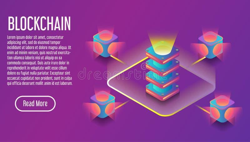 Insegna virual isometrica di commercio 3D di Blockchain Illustrazione binaria di vettore di comunicazione di servizio di design illustrazione vettoriale