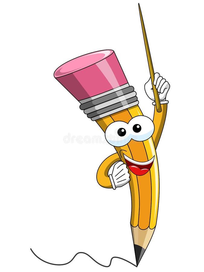 Insegnamento del bastone del fumetto della mascotte della matita isolato royalty illustrazione gratis