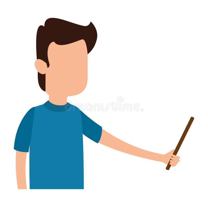 Insegnamento dell'uomo con indicare carattere illustrazione vettoriale
