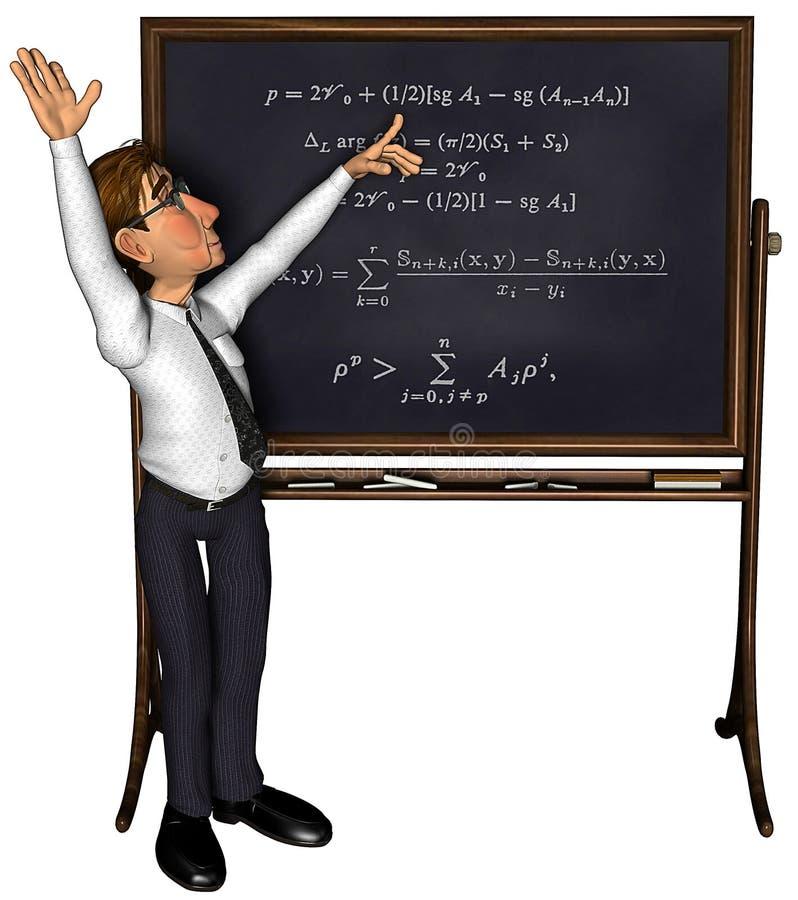 insegnante 3d che insegna 3 al fumetto 3 illustrazione di stock