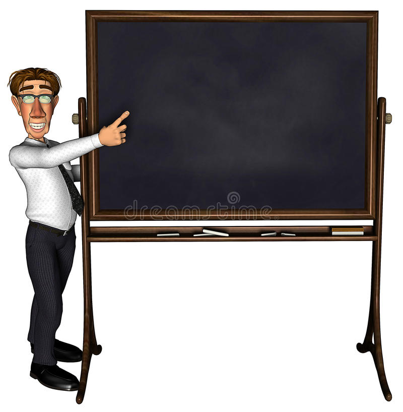 insegnante 3d che insegna ad uno spazio in bianco dei 5 fumetti illustrazione vettoriale
