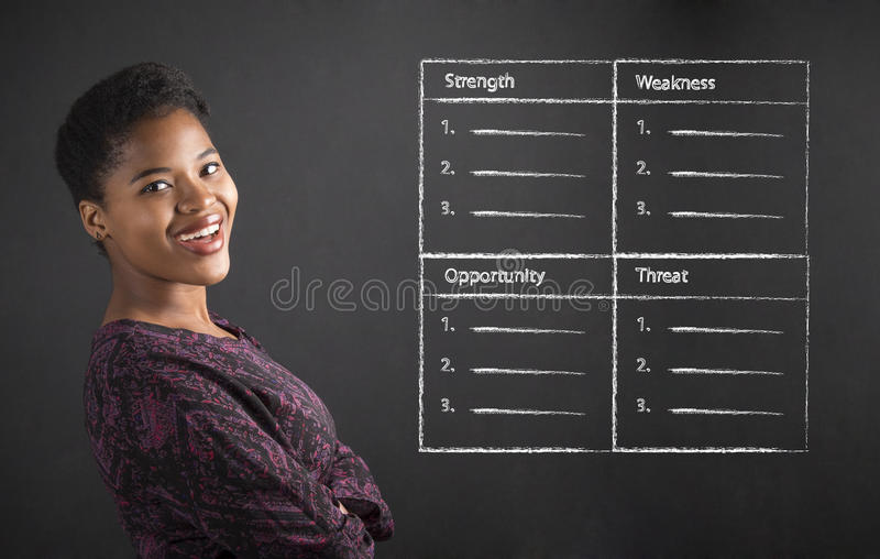 Insegnante afroamericano o studente della donna con le armi piegate ed analisi dello SWOT sul bordo nero fotografia stock