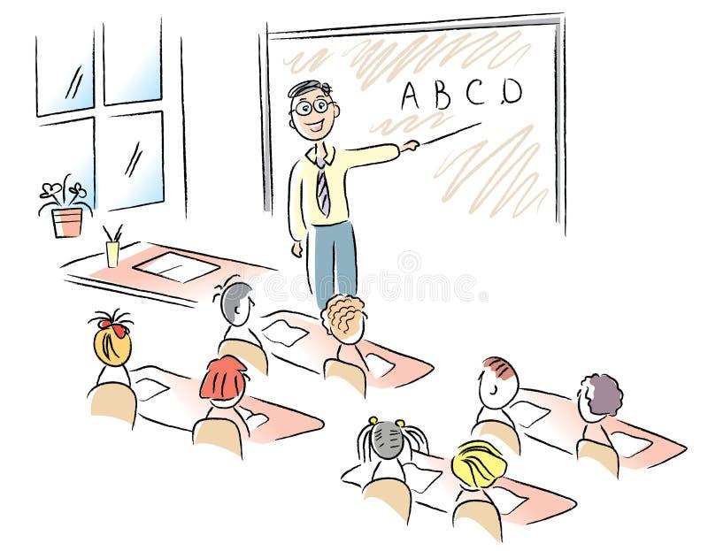Insegnante in aula illustrazione vettoriale