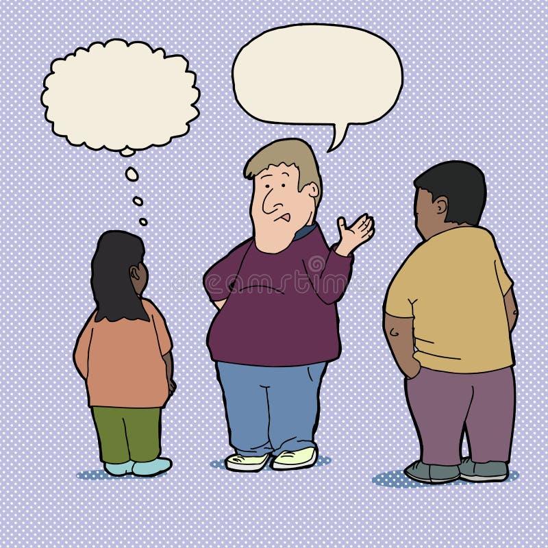 Insegnante che comunica con allievi illustrazione vettoriale
