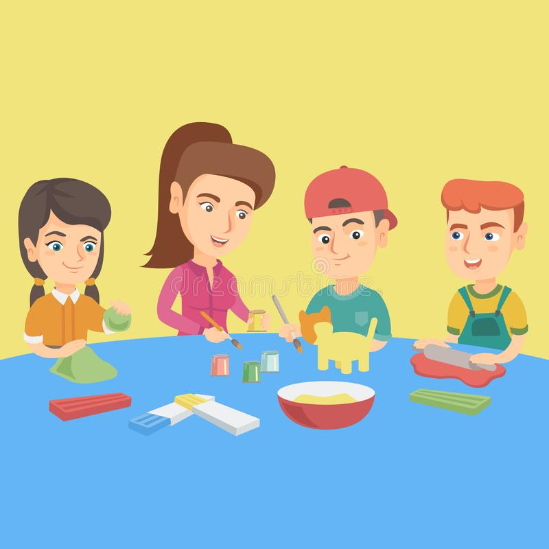 Insegnante che fa le figure del plasticine con i bambini royalty illustrazione gratis