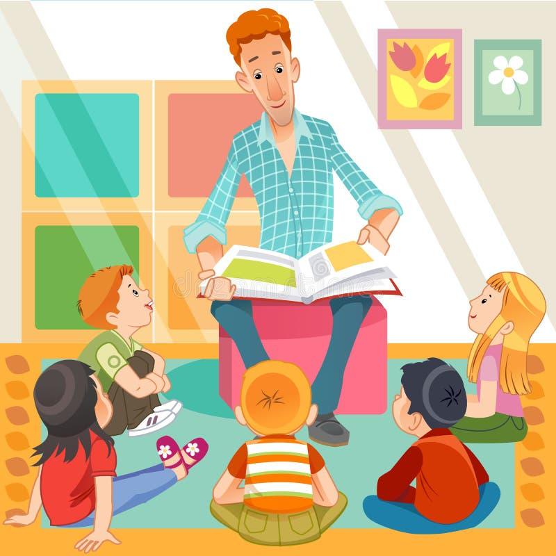 Insegnante che legge i bambini carini nel giardino dei Kinder Studenti e insegnanti Vettore stile vignetta fotografia stock libera da diritti