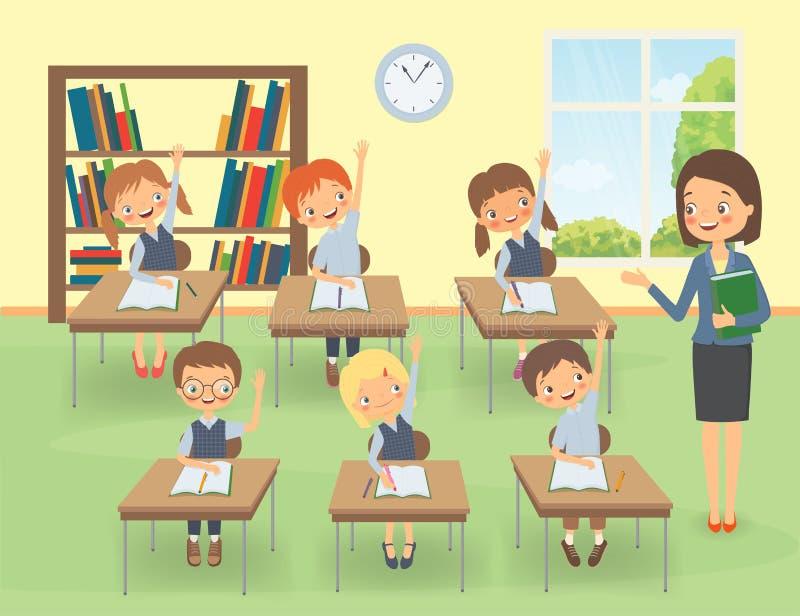 Insegnante con gli allievi in un'aula ad una lezione illustrazione di stock