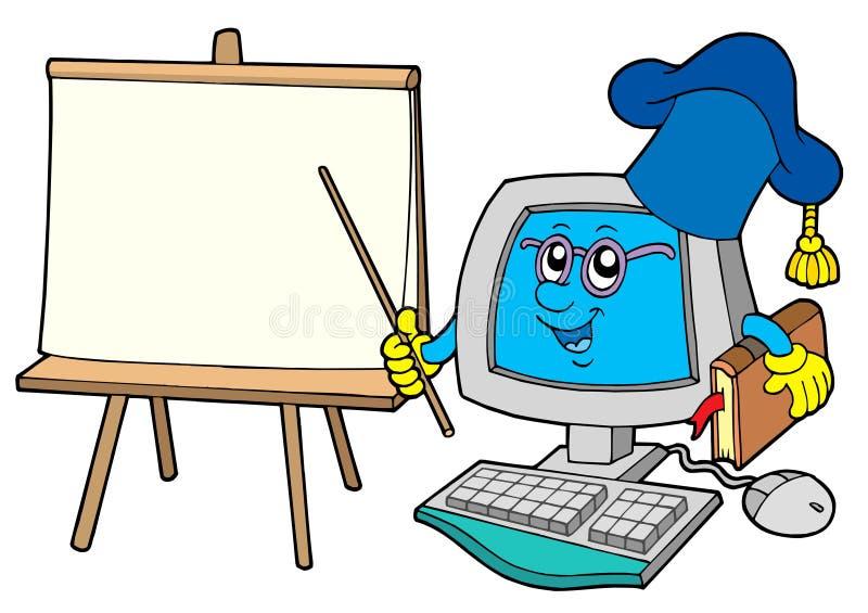 Insegnante del calcolatore con la tabella illustrazione vettoriale