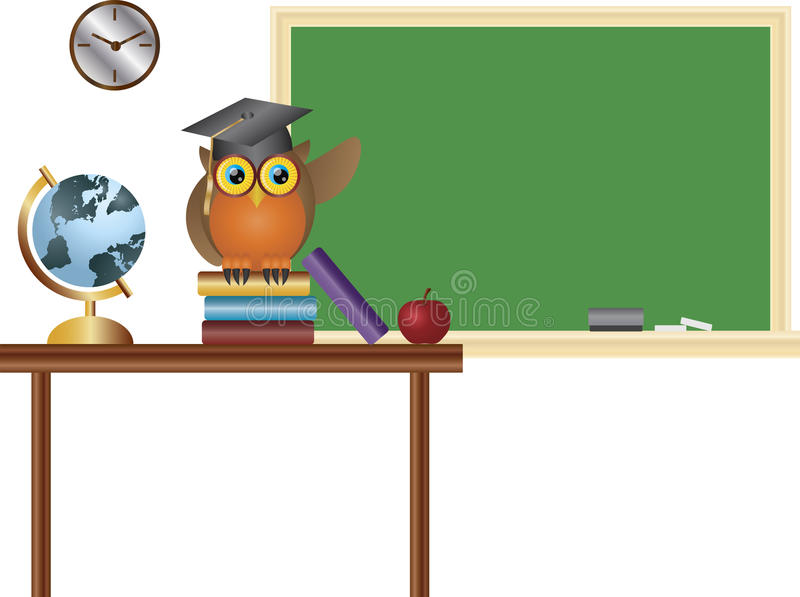 Insegnante del gufo nell'illustrazione della lavagna dell'aula illustrazione di stock