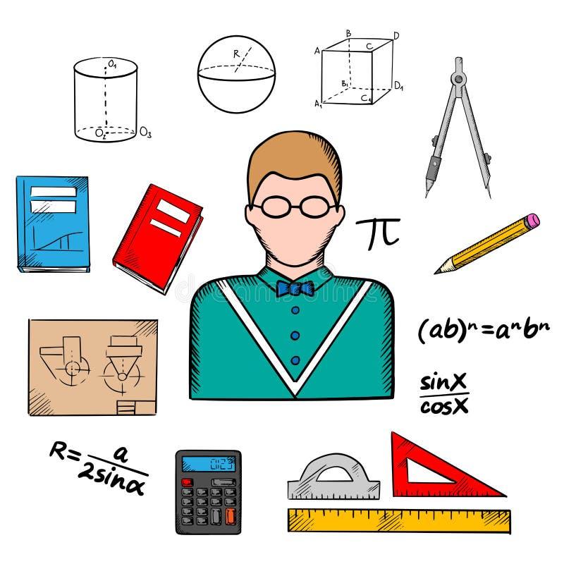 Insegnante del matematico con le icone di istruzione illustrazione di stock