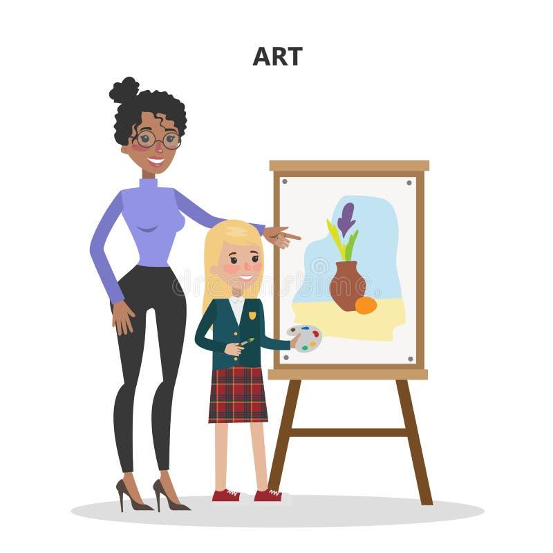 Insegnante di arte con lo studente illustrazione di stock