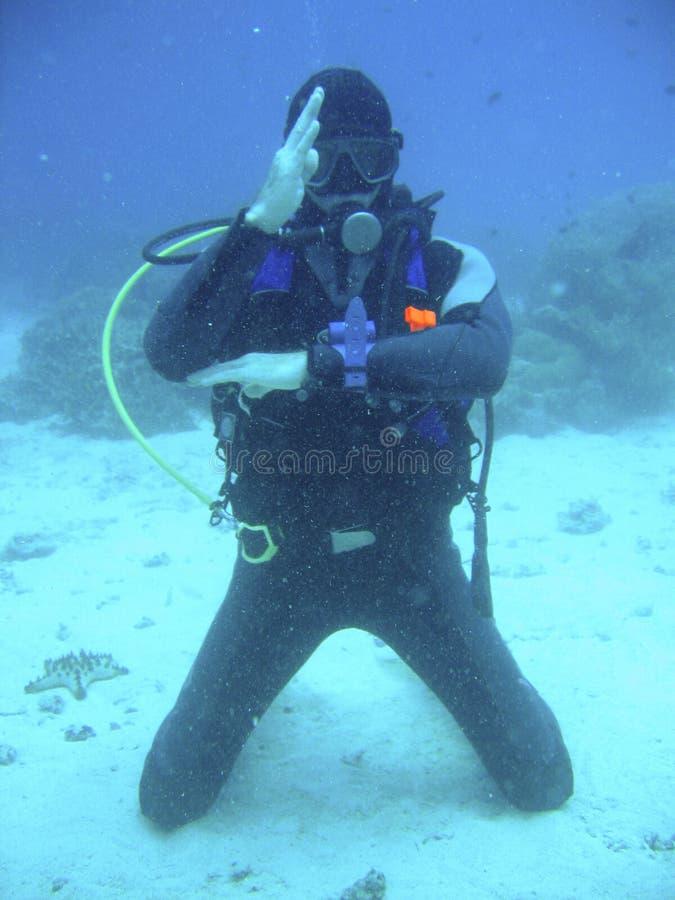 Insegnante di immersione con bombole fotografie stock
