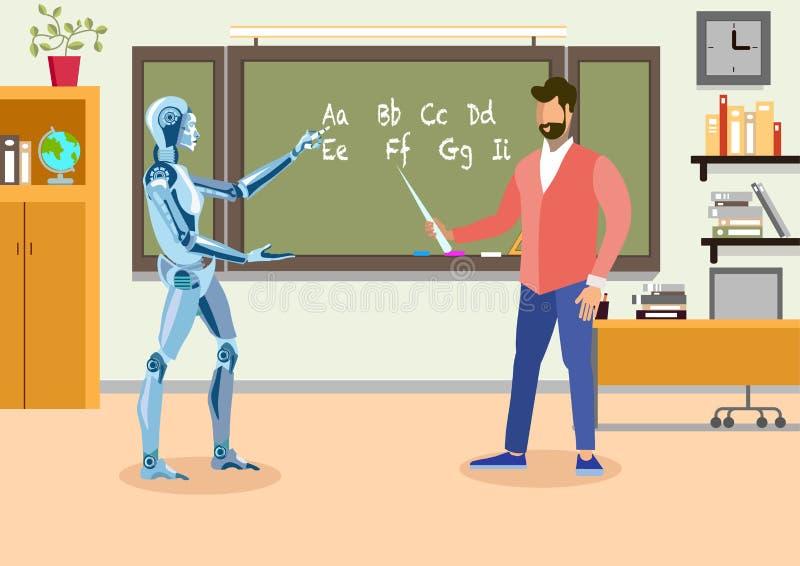 Insegnante di umanoide nell'illustrazione piana dell'aula illustrazione di stock