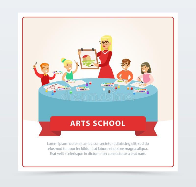 Insegnante e bambini alla lezione del disegno illustrazione di stock