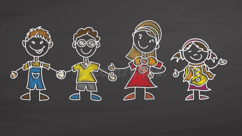 Insegnante e bambini che attingono lavagna royalty illustrazione gratis