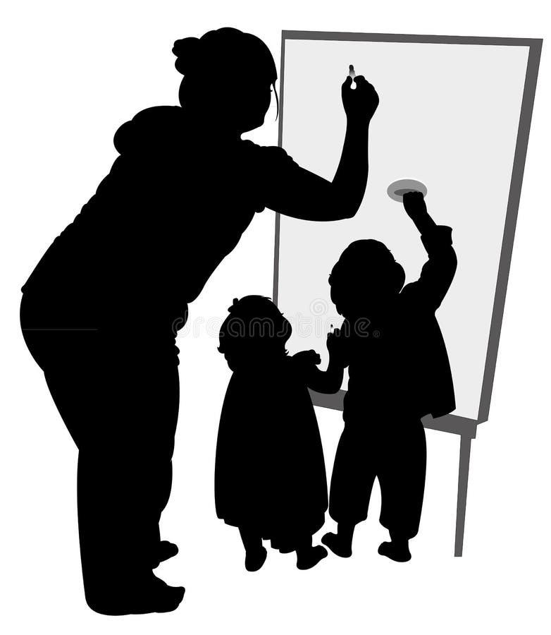 Insegnante e bambini che scrivono a bordo illustrazione di stock