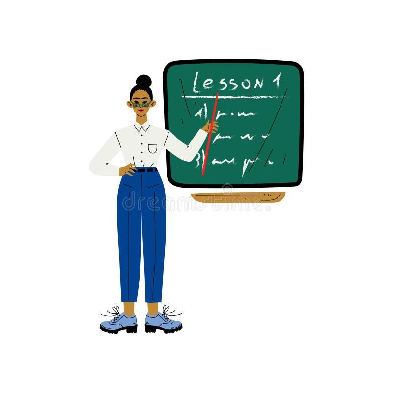 Insegnante femminile Character Standing davanti all'illustrazione di vettore della lavagna della scuola illustrazione di stock