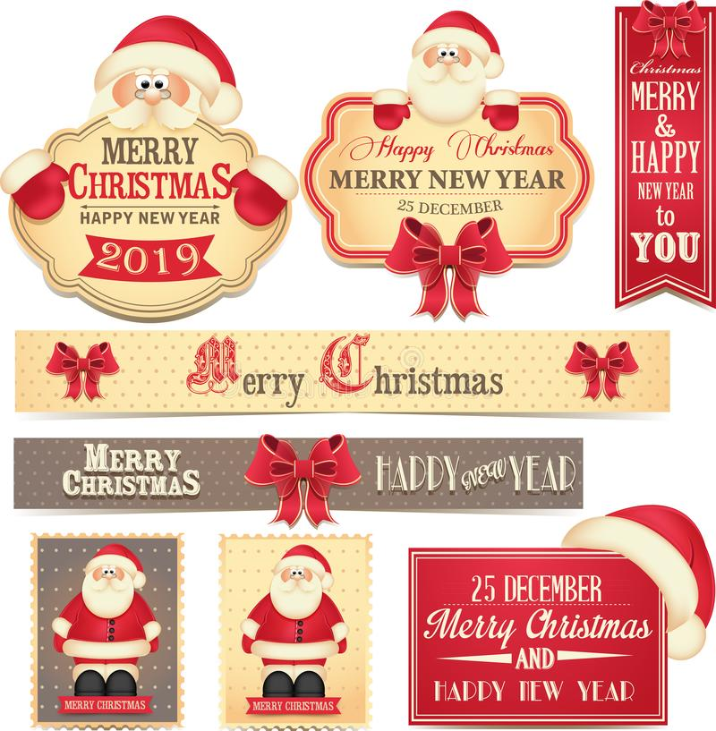 Insegne allegre del buon anno e di Christamas con l'arco e Santa Claus rossi svegli illustrazione vettoriale