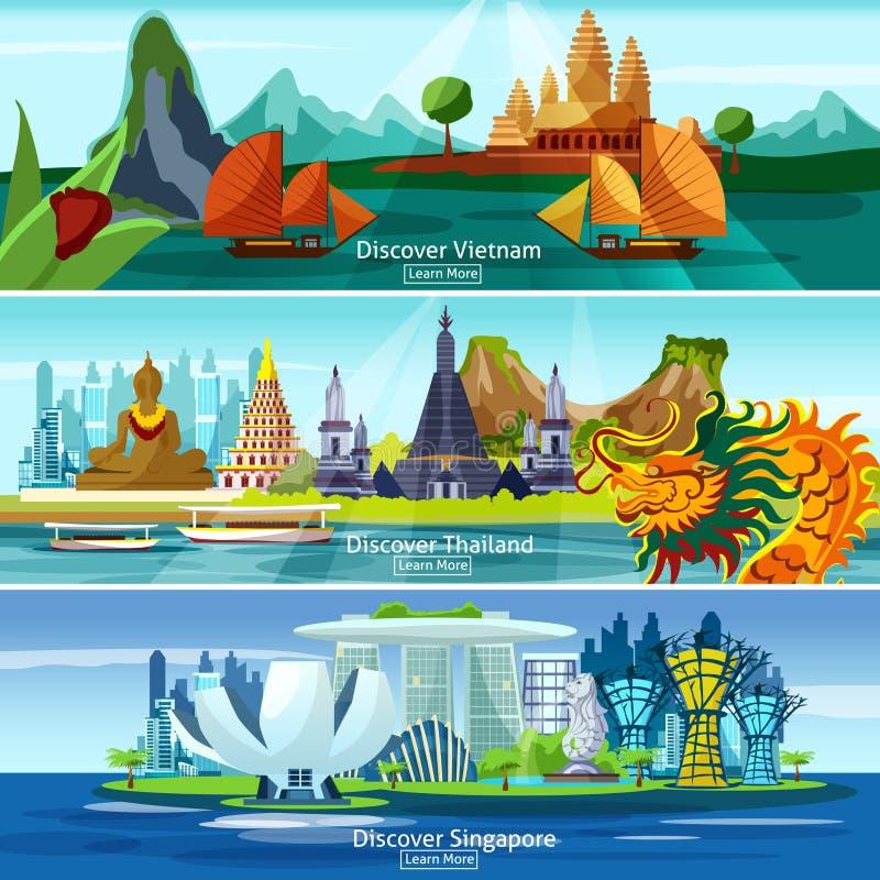 Insegne asiatiche di viaggio illustrazione di stock