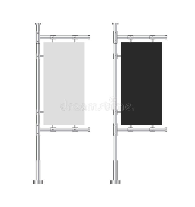 Insegne in bianco di progettazione per il sito Web Bandiera all'aperto bianca e nera dei pannelli nello stile del modello Support illustrazione di stock