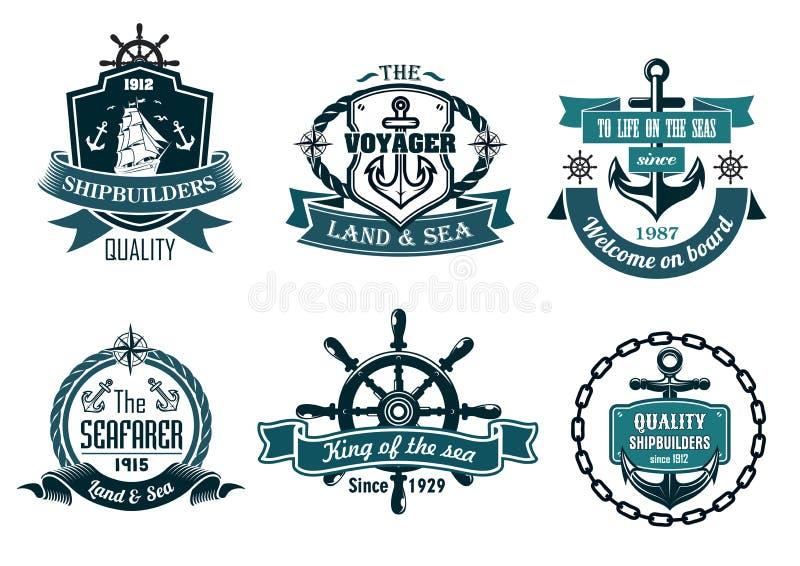 Insegne blu o icone di tema nautiche e di navigazioni illustrazione di stock