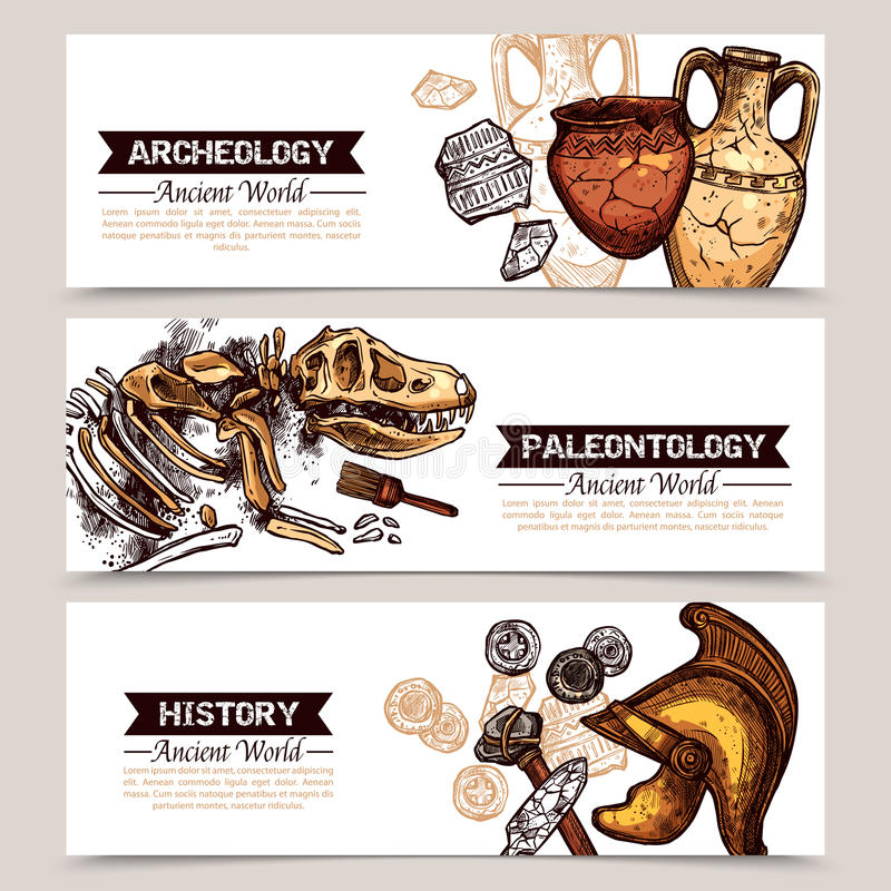 Insegne colorate schizzo orizzontale di archeologia illustrazione vettoriale