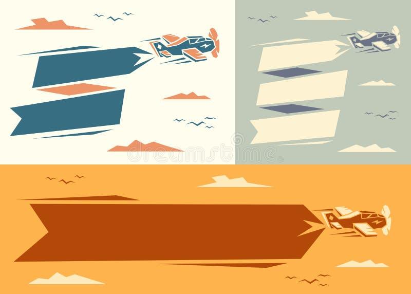 Insegne con l'aereo royalty illustrazione gratis